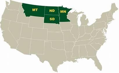 Northern Region Map States Plains Montana United