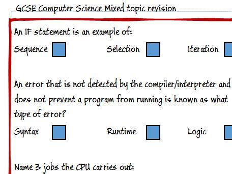 gcse computing computer science mixed revision topics