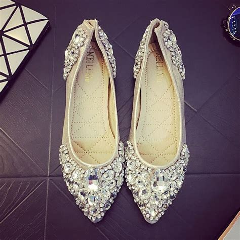 Wedding Flats by S Pointed Toe Wedding Shoes Flats Shiny
