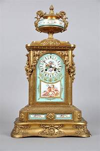 French, 19th, Century, White, Metal, Green, Sevres, Mantle, Clock, On, U2026, -, Clocks