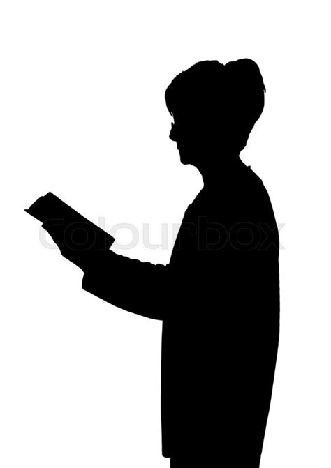elderly lady silhouette standing reading  book stock vector colourbox