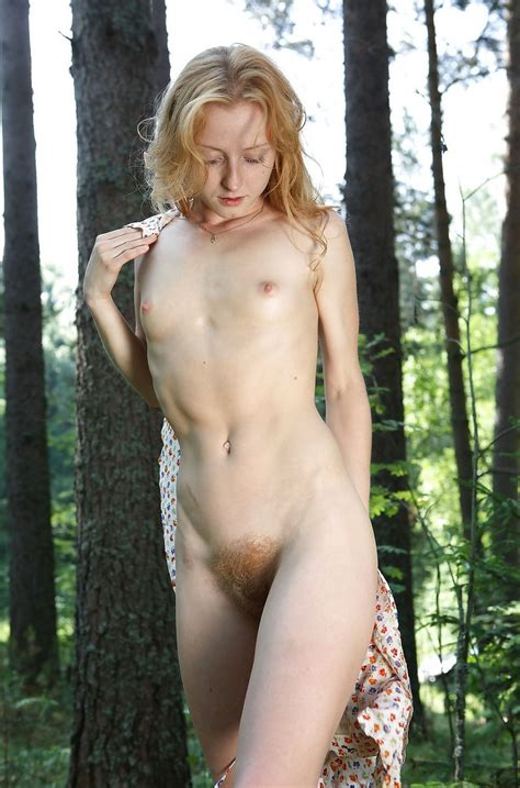 Truly Blonde With A Very Hairy Pussy In The Woods Russian Sexy Girls