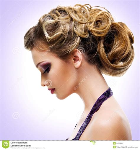profile portrait  woman  fashion hairstyle stock