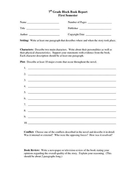 7th Grade Book Report Format Rating 462 Views 689