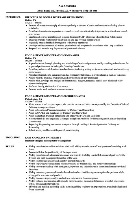 Resume F B Director by Food Beverage Operations Resume Sles Velvet