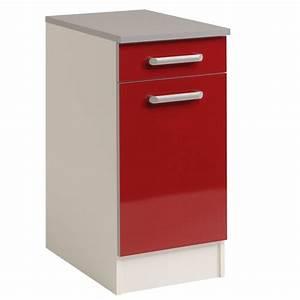 Meuble Bas A Tiroir : meuble bas 1 tiroir 1 porte 40 cm shiny rouge ~ Edinachiropracticcenter.com Idées de Décoration