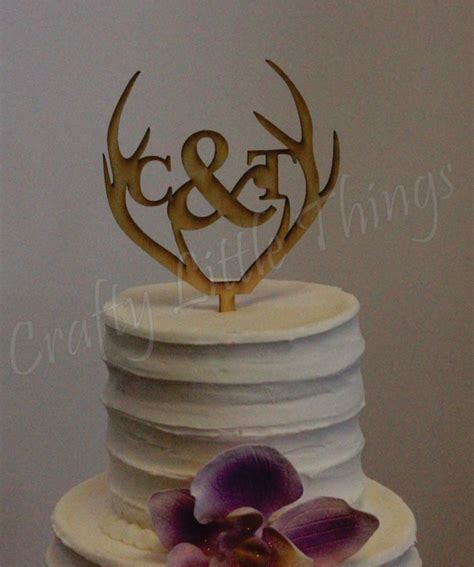 free shipping antler personalized wooden monogram rustic wedding cake topper 2328961 weddbook
