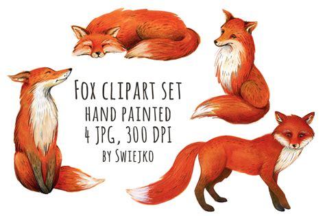 Fox Illustration, Watercolor Clipart