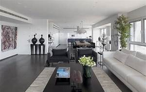 Modern white and gray apartment interior design by for Gray interior decorating