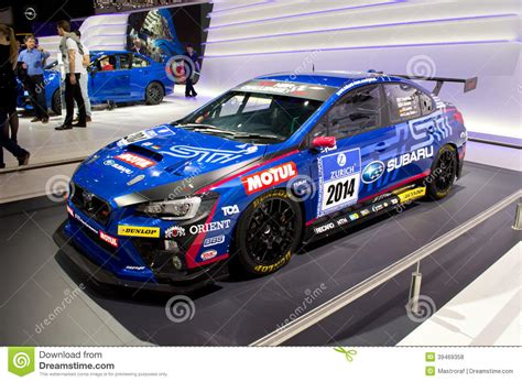 subaru rally racing subaru wrx race car geneva 2014 editorial stock photo