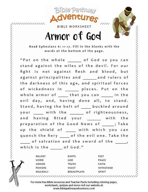 armor  god fill   blanks bible lessons  kids
