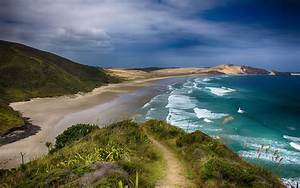 New Zealand View From The Hill Sea Empty Beach  Ocean Waves Hd Wallpapers For Desktop