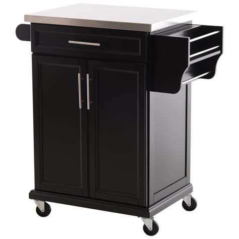 homcom wood stainless steel multi storage rolling kitchen