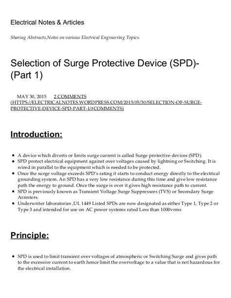 Selection Of Surge Protective Device (spd) (part 1) Electrical Not…