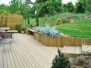 nivremcom terrasse bois jardin en pente diverses With jardins et terrasses photos