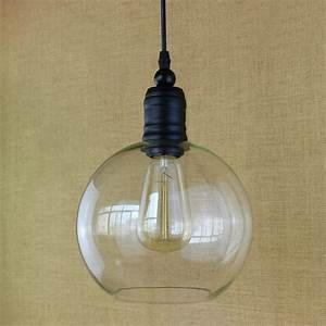 Antique retro copper hanging clear glass shade pendant