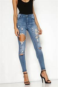 Maxine Denim Ripped High Waisted Skinny Jeans | MissPap