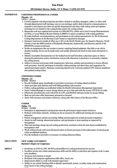 Coder Resume by Coder Resume Sles Velvet