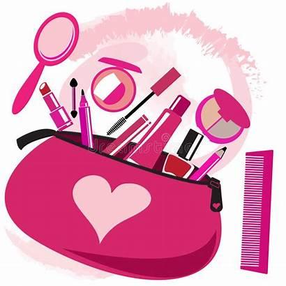 Makeup Bag Tools Clipart Vector Beautician Pink