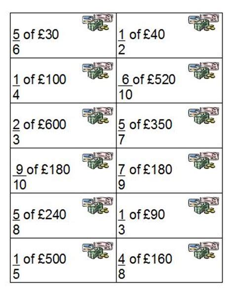 fractions of quantities top trump cards skills workshop