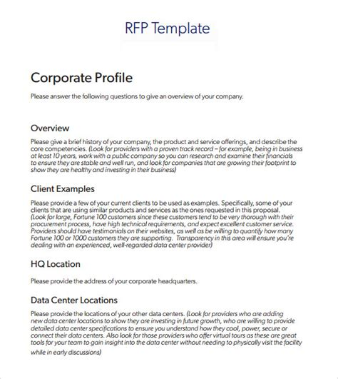 rfp requirements template 9 rfp templates for free sle templates