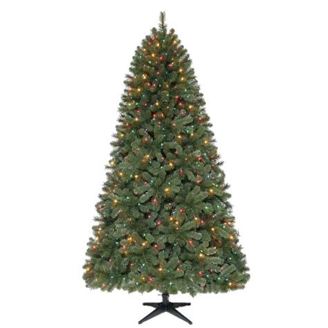 7 5 ft christmas tree with 1000 lights home accents holiday 7 5 ft wesley mixed spruce quick set