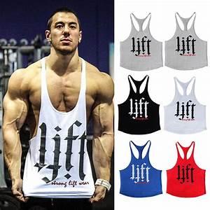 Men Stringer T Shirt Bodybuilding Tank Top Gym Fitness Singlet Sleeveless Muscle Vest
