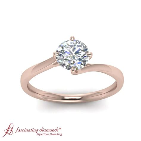 solitaire round cut diamond white gold twisted engagement