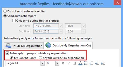 Office 365 Mail Auto Reply by Out Of Office Assistant Not Replying Msoutlook Info
