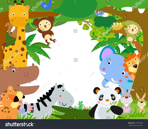 Animal Frame Wallpaper - jungle animals border stock vector 329730605