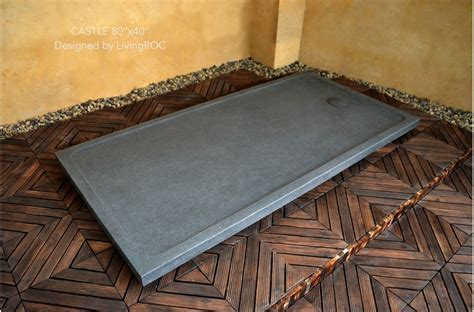 200x100cm Granite Stone Shower Tray Trendy Grey   CASTLE