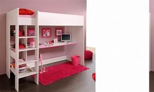 Lit En Mezzanine : lit mezzanine ado mixte blanc r versible rose ou bleu camille ~ Teatrodelosmanantiales.com Idées de Décoration