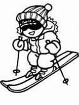 Coloring Winter Sports Pages Skiing sketch template