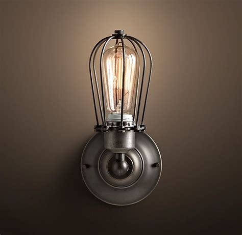 marconi small cage single sconce aged steel 125 115 270