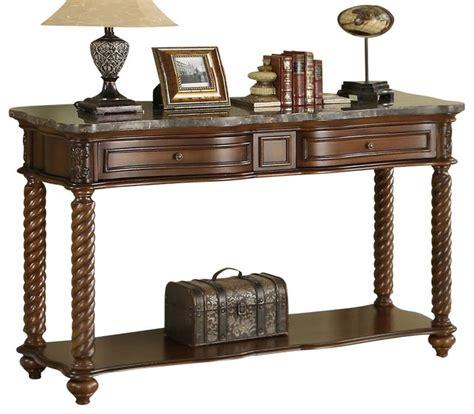 marble top sofa table homelegance lockwood rectangular sofa table with marble