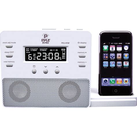iphone alarm clock pyle home enhanced ipod iphone alarm clock speaker picl45w b h