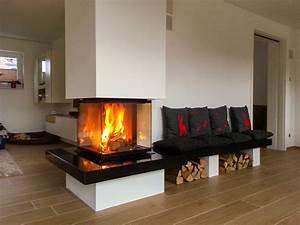 Kamin 3 Seiten : eckkamin mit bank 1 innenbereich pinterest open fireplace stove and log burner ~ Frokenaadalensverden.com Haus und Dekorationen