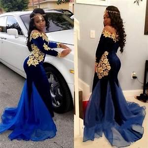 2017 Long Sleeves Black Girl Prom Dresses Elegant Scoop Floor Length Mermaid South African Blue