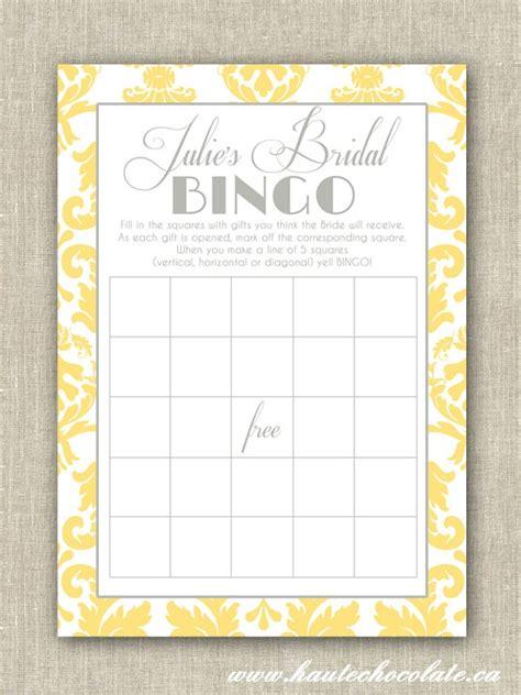 bridal shower bingo diy print yourself yellow gray