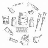 Medicine Pharmacy Sketch Icon Medication Pills Pipette Illustration Capsules Enema sketch template