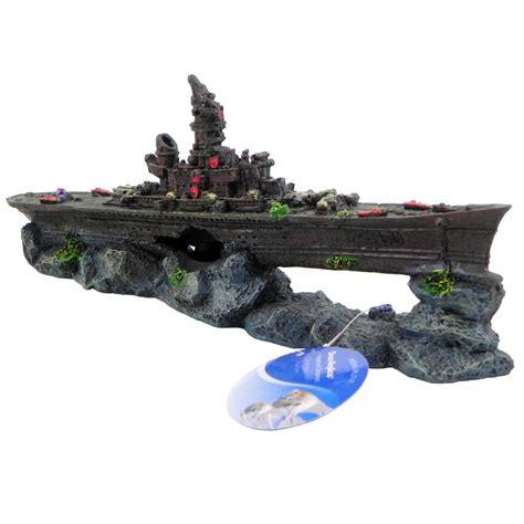 sunken wreck battleship aquarium ornament aquar