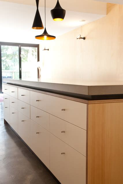 bulkhead kitchen cabinets concrete island benchtop with shadowline contemporary 4994