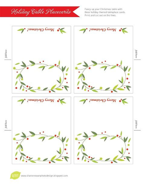 Free Place Card Template Christmas Pinterest