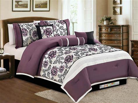 7 pc floral garden flower comforter set purple white black