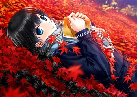 Autumn Anime Wallpaper - autumn anime leaf school beautiful smile book