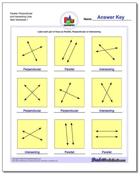 worksheet parallel intersecting  perpendicular lines
