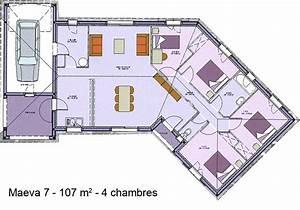 plan de maison plain pied 4 chambres en v