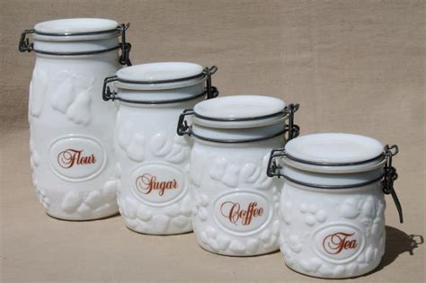 glass kitchen canister sets vintage milk glass canister set wheaton country orchard kitchen canister jars