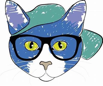 Cat Glasses Wearing Clipart Sunglasses Cartoon Drawing
