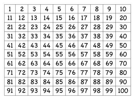 printable number grid printableecom